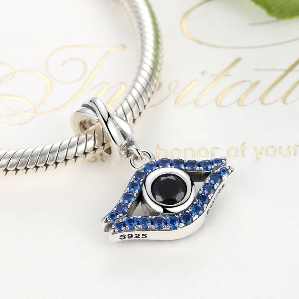 925 Sterling Silver Blue Stone Vivid Evil Eye Pendants Charms Fit Women Bracelets & Bangles Fashion Jewelry SCC086