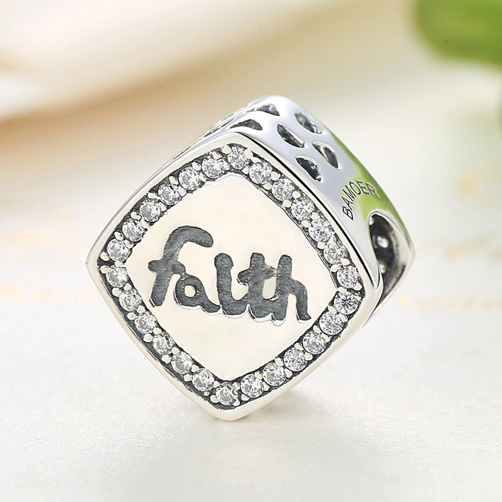Friendship Gift 925 Sterling Silver Letter Faith Bead Charms Fit Bracelets & Bangles Women DIY Fashion Jewelry SCC090