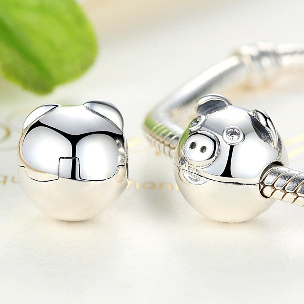 100% 925 Sterling Silver Lovely Animal Pig with Ears & Nose Clips Charms Fit Pandora Bracelets Women Fashion Jewelry SCC106