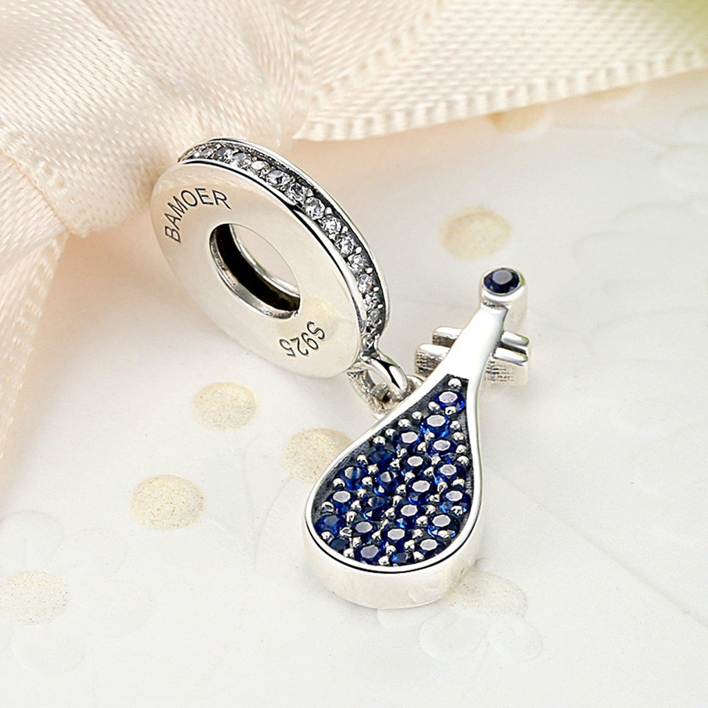 925 Sterling Silver Blue Musical Instrument China Lute Pendant Charms Fit Pandora Bracelets Women Fashion Jewelry SCC112
