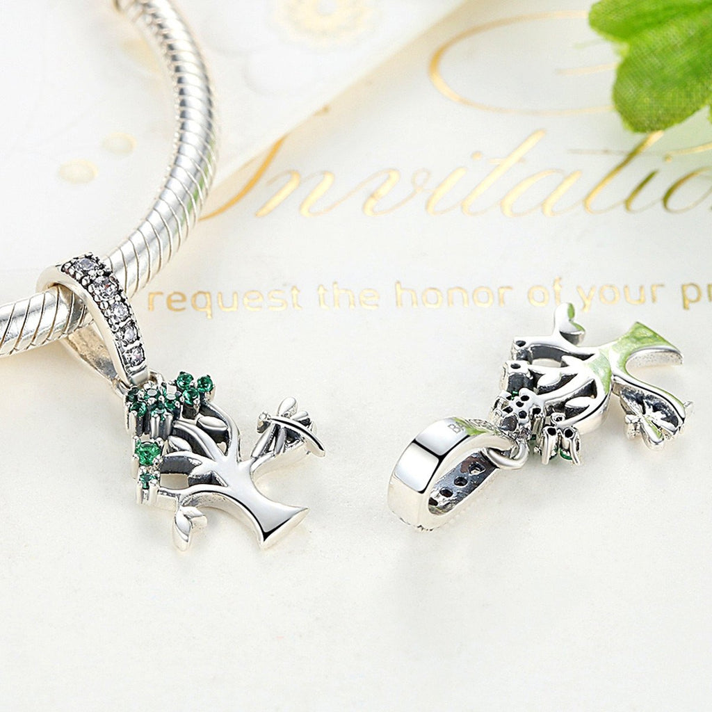 Genuine 925 Sterling Silver Vivid Green Tree of Life Pendant Charms Fit Pandora Bracelets Women DIY Beads & Jewelry Making SCC117