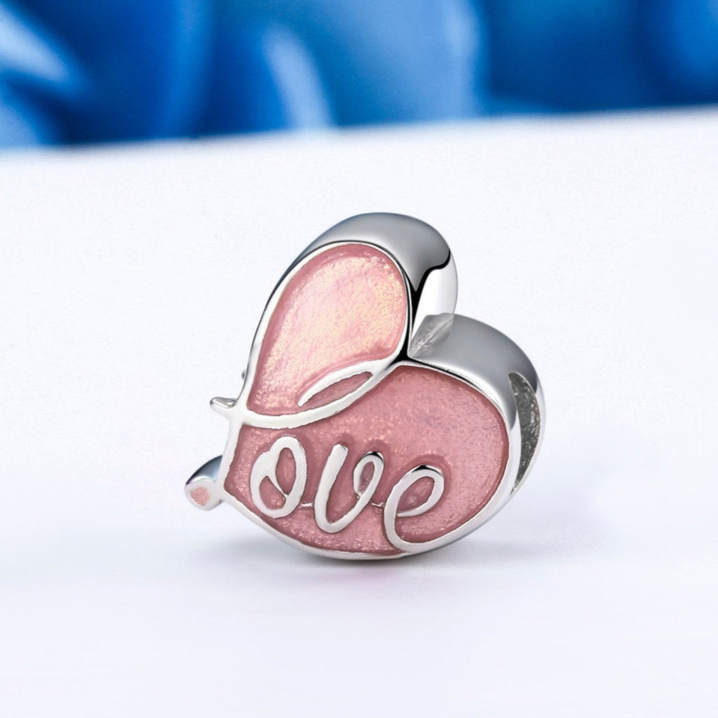 925 Sterling Silver Charm Fall in Love Pave & Pink Enamel Heart Beads Charms fit Bracelet Jewelry SCC133