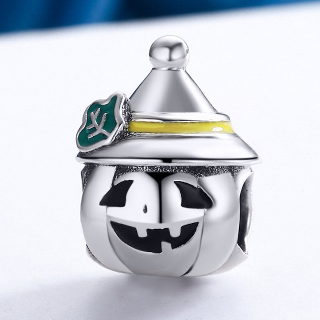 925 Sterling Silver Halloween Pumpkin Head Beads Charms fit Brand Bracelets Necklace Jewelry SCC164