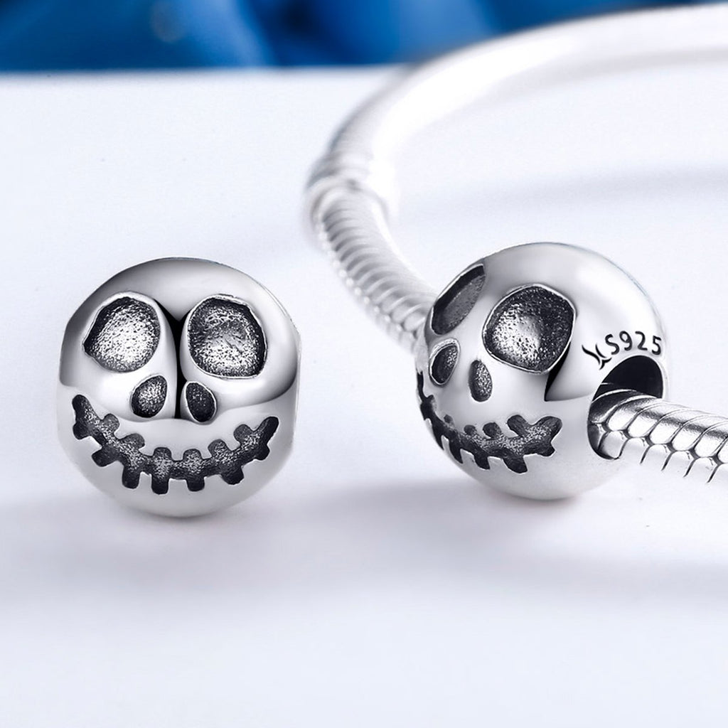 925 Sterling Silver Ghost Face Skull Head Beads Charm fit Bracelets Jewelry Halloween Gift SCC181