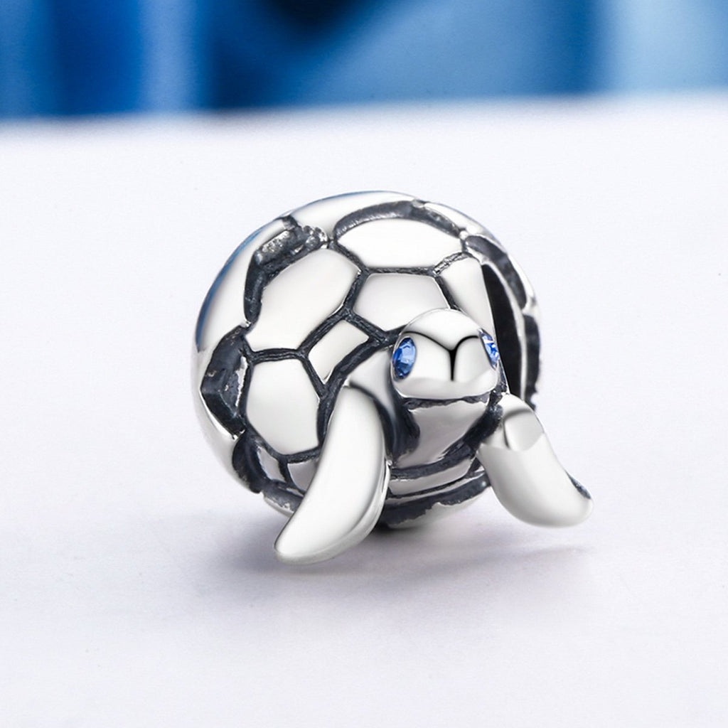 Cute Design 925 Sterling Silver Reborn Turtle Tortoise & Clear CZ Beads fit Charm Bracelets & Bangles DIY Jewelry SCC192