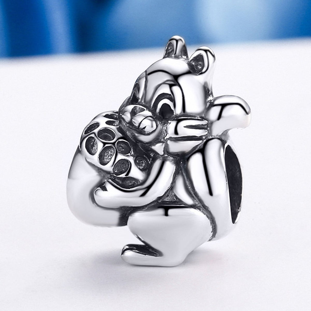 925 Sterling Silver Naughty Squirrel & Pine Nut Animal Charm Beads fit Women Charm Bracelet Jewelry SCC197