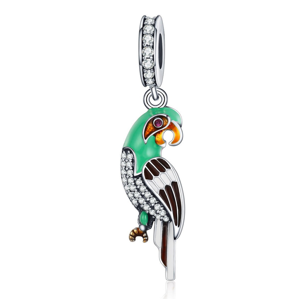 925 Sterling Silver Adorable Parrot  Colourful Enamel Dazzling CZ Charms fit Women Bracelets Jewelry S925 SCC218