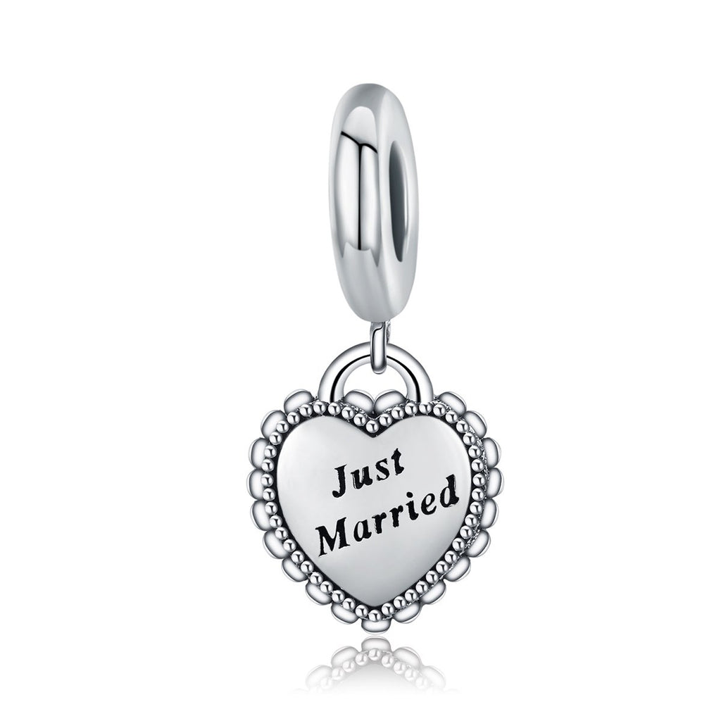 925 Sterling Silver Sweet Wedding Just Married Engraved Dangle Beads fit Clear CZ Women Bracelet Jewelry S925 SCC260