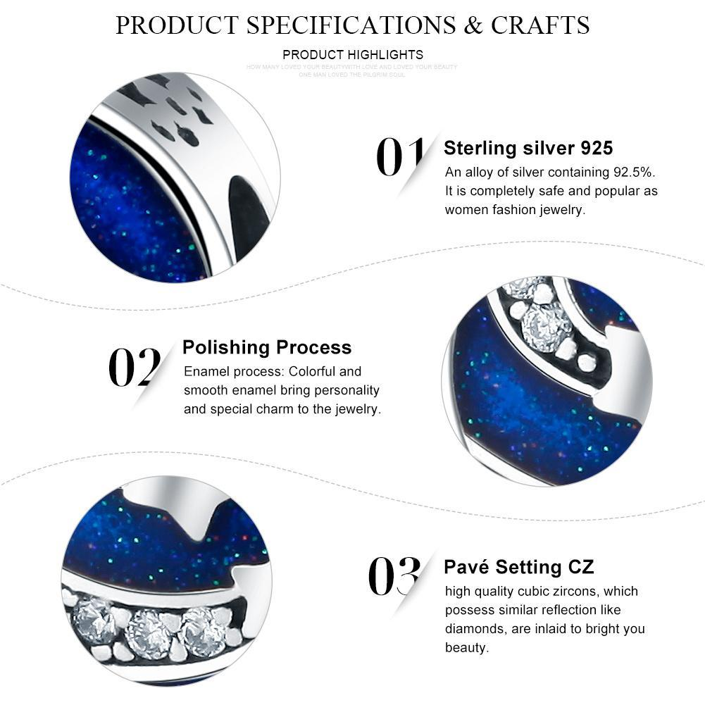 925 Sterling Silver Shining Meteor Sparking CZ Beads fit Charm Bracelets for Women Jewelry SCC268