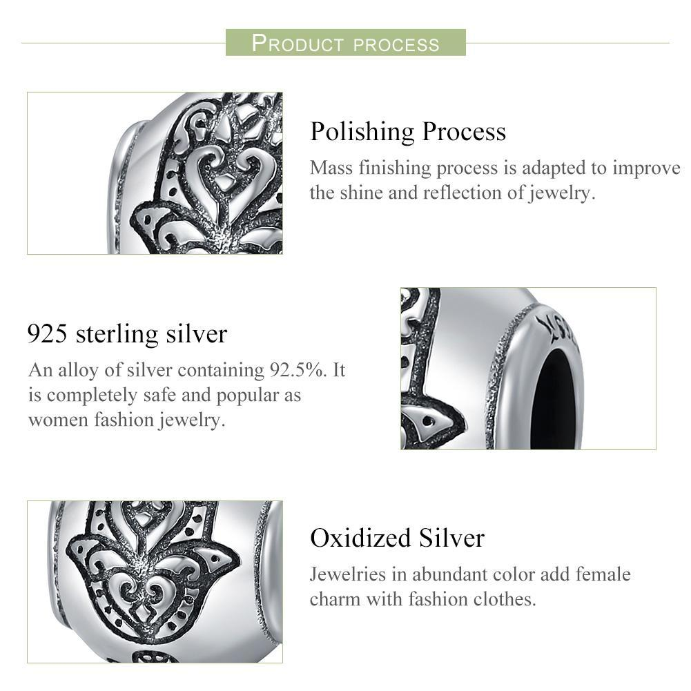 Hot Sale 100% 925 Sterling Silver Fatima Hand Faith Power Beads fit Original Charm Bracelets Women DIY jewelry SCC306