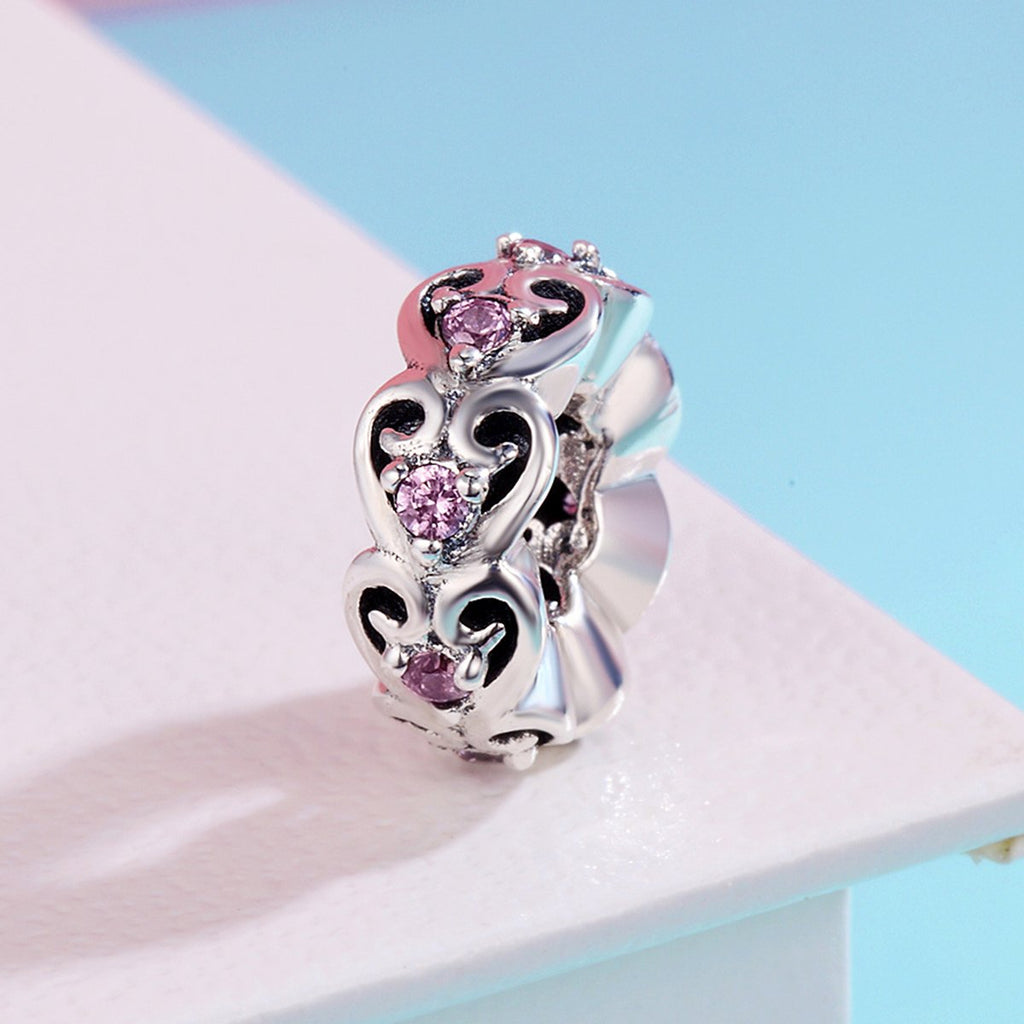 Romantic Genuine 925 Sterling Silver Stackable Heart Sweat Love Spacer Beads fit Women Charm Bracelets DIY jewelry SCC339