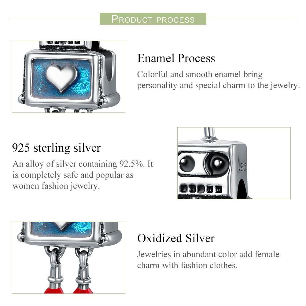 Fashion New 100% 925 Sterling Silver Cute Robot Heart Charms fit Charm Bracelets for Women Sterling Silver jewelry SCC346