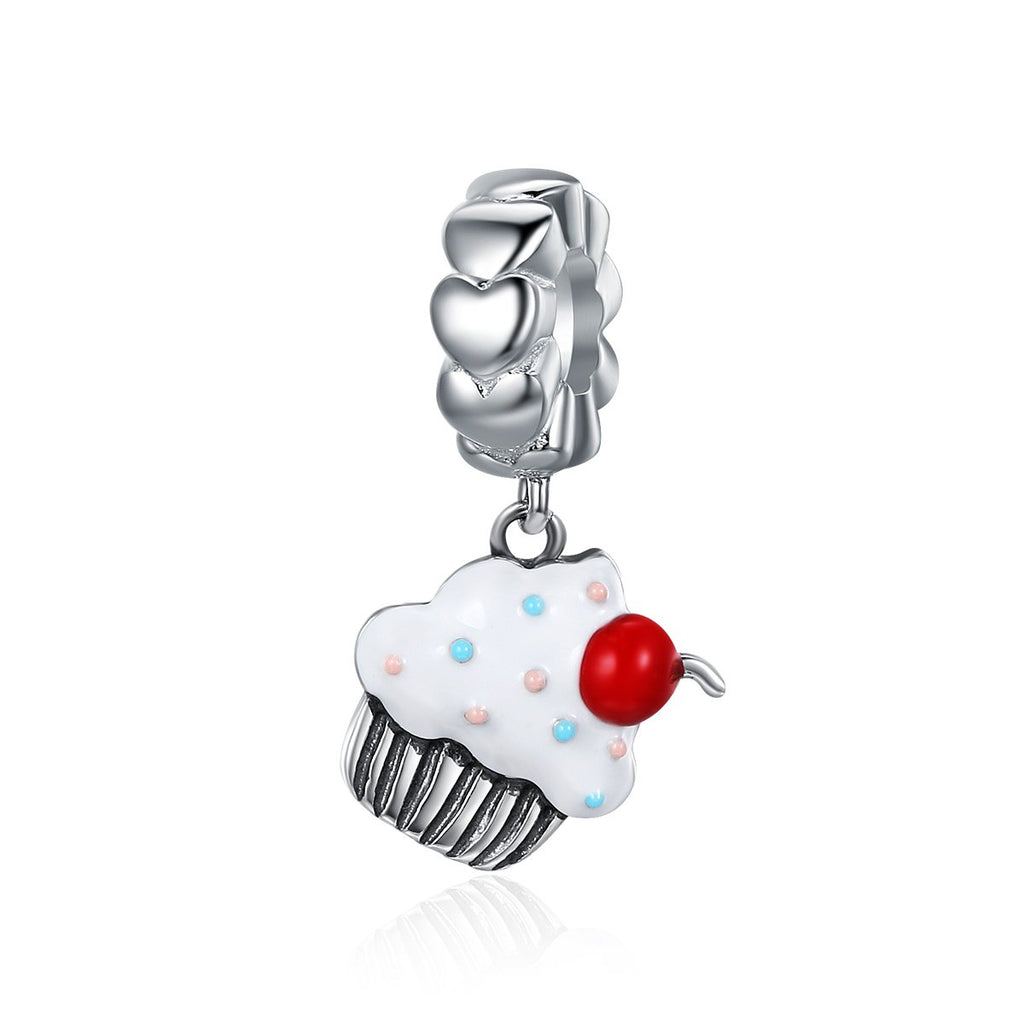Hot Sale 925 Sterling Silver Sweet Cherry Cream Cupcake Pendant Charms fit Women Charm Bracelets Fine Jewelry SCC350