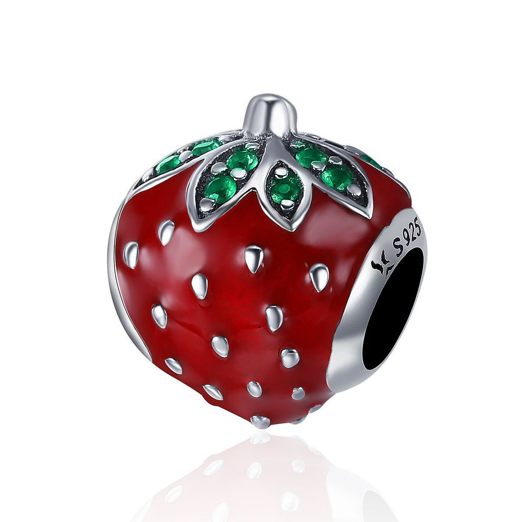 Authentic 925 Sterling Silver Sweet Strawberry Red Enamel Charm fit Women Charm Bracelets & Bangles Fine Jewelry SCC369