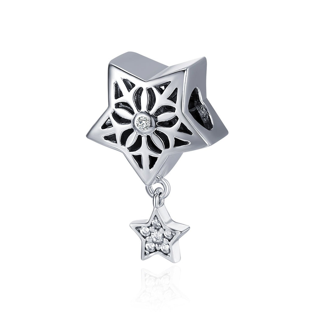 Genuine 100% 925 Sterling Silver Star Of Snow Country Charm Pendant fit Women Charm Bracelet & Necklaces jewelry SCC371
