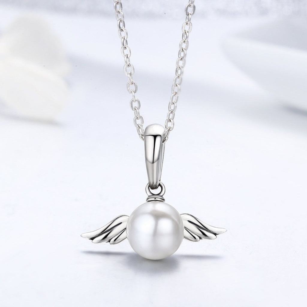 Valentine Day 100% 925 Sterling Silver Naughty Angel Feather Wing Pendant Necklace for Mom Chain Necklace Jewelry SCC381+SCA010-45