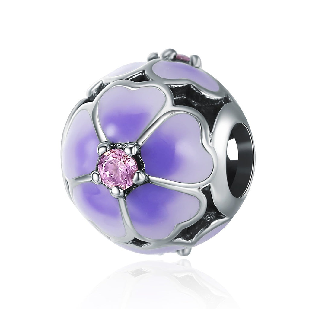 925 Sterling Silver Daisy Cherry Enamel Flower Beads fit Women Charm Bracelet Sterling Silver Jewelry SCC389