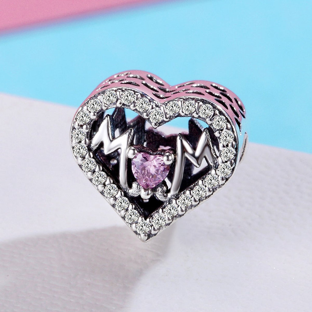 Authentic 100% 925 Sterling Silver Heart MOM Letter Clear CZ Charm Fit Charm Bracelet DIY Jewelry Mother Gift SCC395