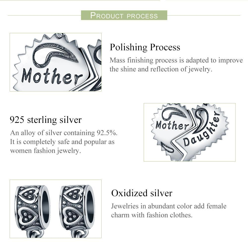 100% 925 Sterling Silver Mother and Daughter Love Forever Pendant Charms fit Bracelets Necklace Jewelry Making SCC427