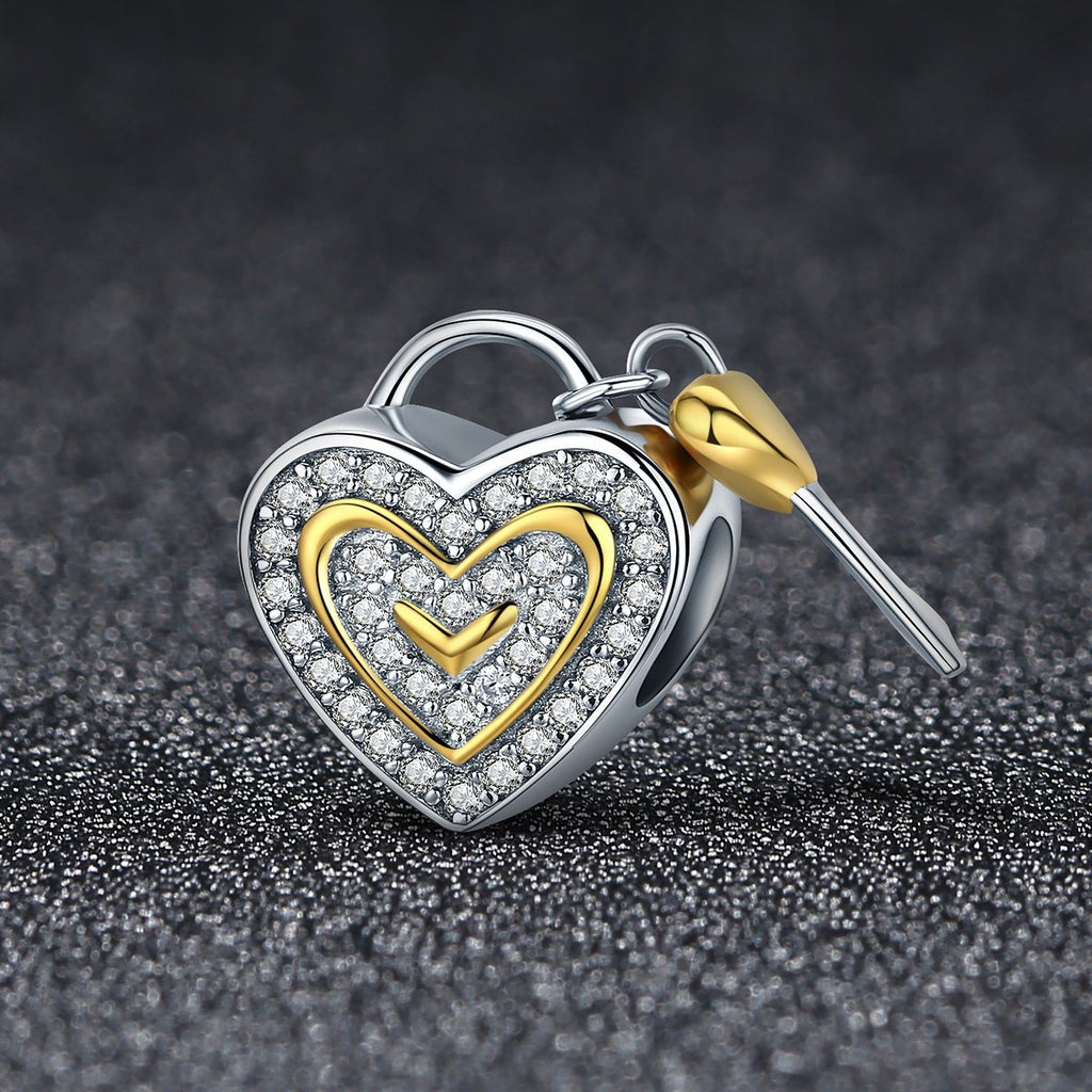 Authentic 925 Sterling Silver Romantic True Love Key Lock Charms fit Women Charm Bracelets & Bangles DIY jewelry SCC464