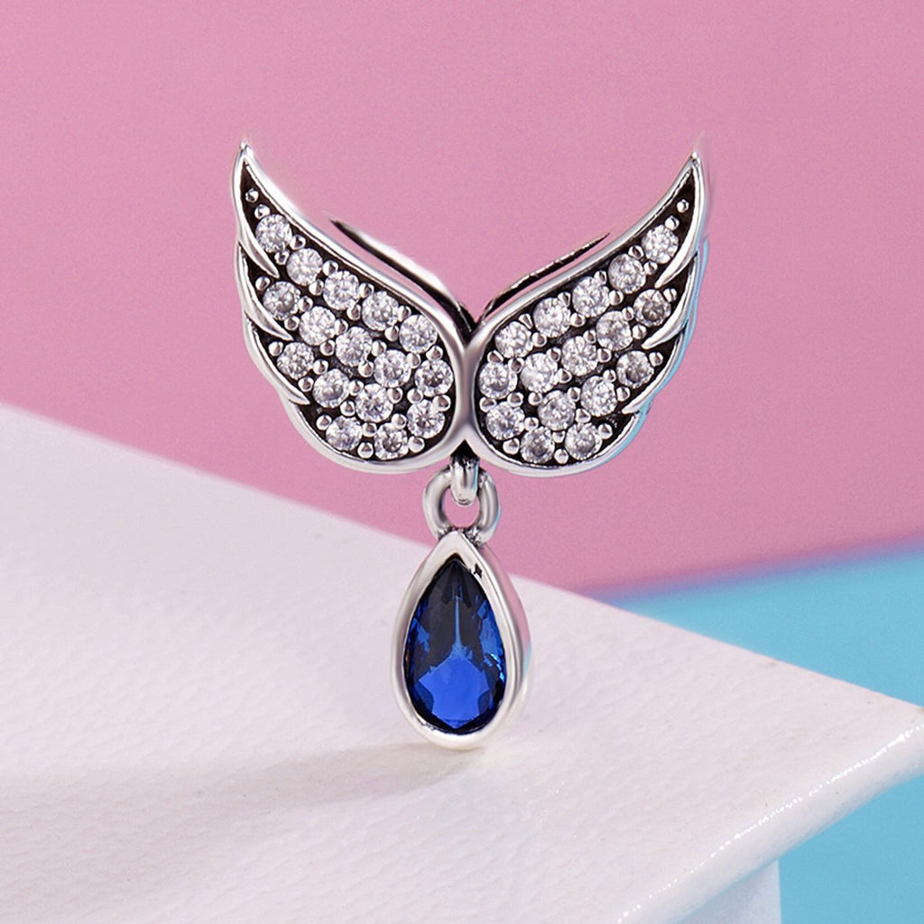 Authentic 925 Sterling Silver Angel Wings Feather Pendant Charm fit Women Bracelet amp Necklace Jewelry SCC481