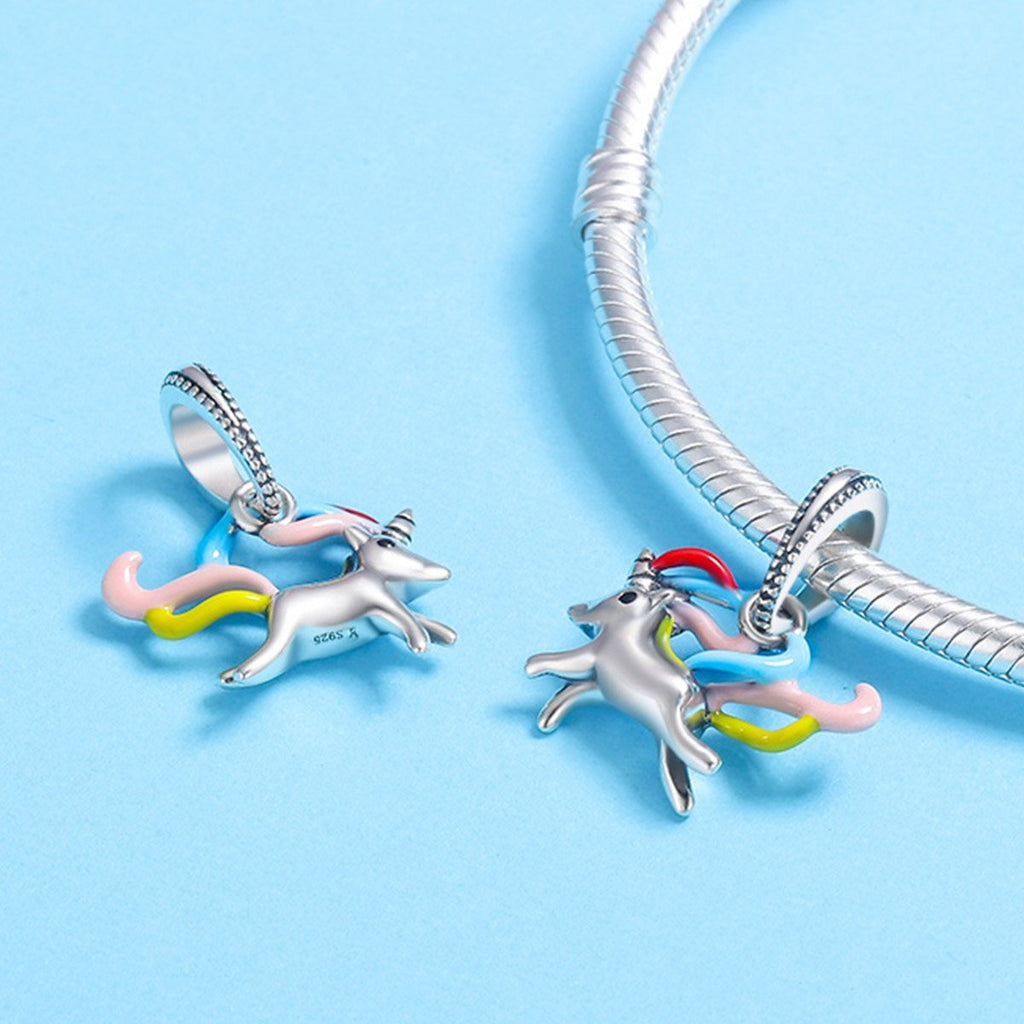 Authentic 100% 925 Sterling Silver Colorful Unicorn Memory Charm Pendant fit Women Charm Bracelet DIY Jewelry SCC502