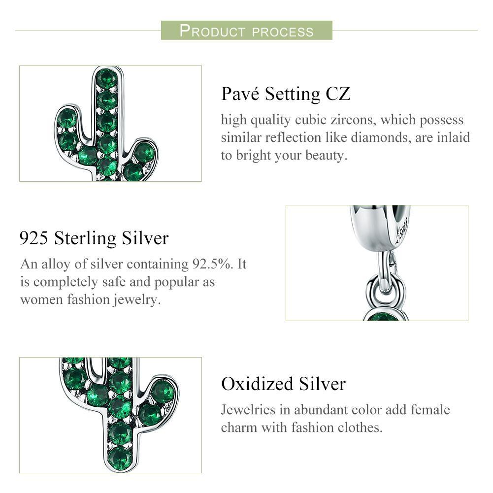100% 925 Sterling Silver Strong Cactus Glittering Green CZ Pendant Charm fit Women Charm Bracelet DIY Jewelry SCC515