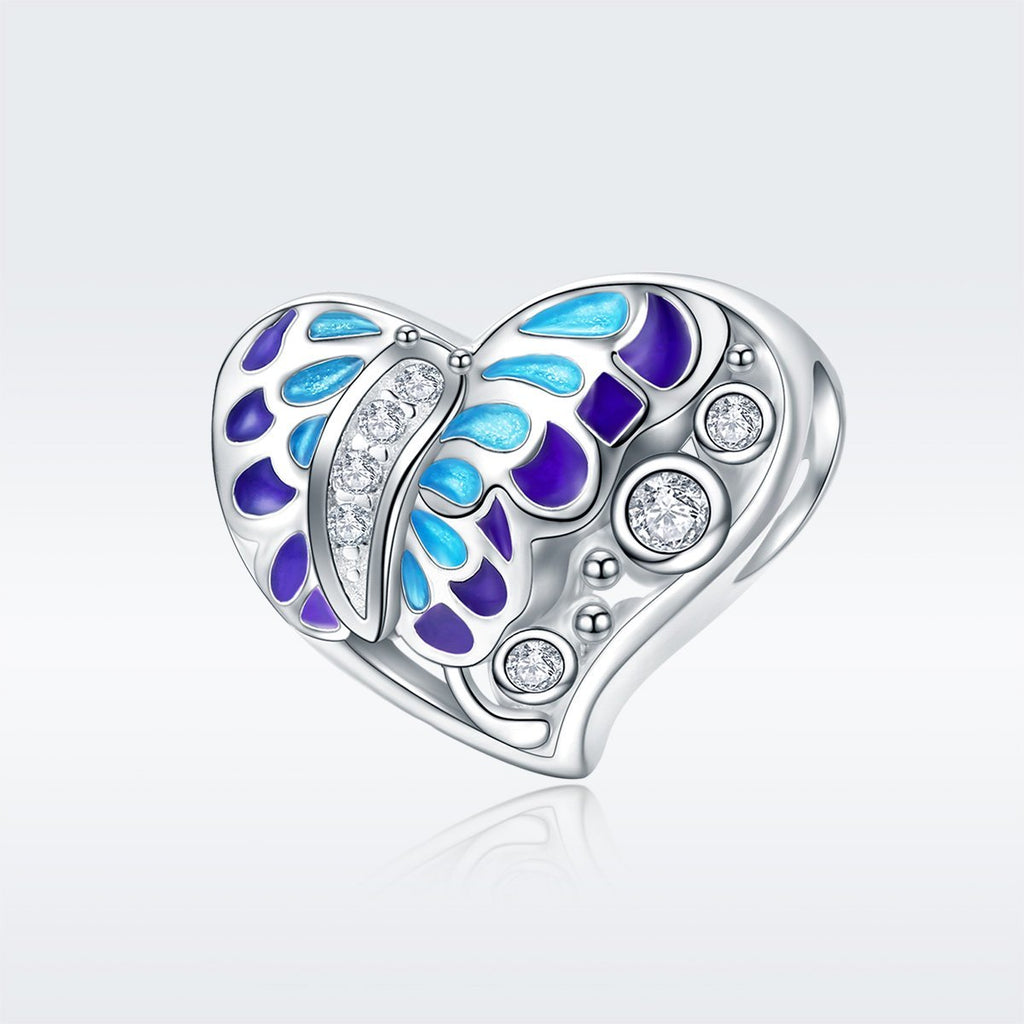 100% 925 Sterling Silver Fantasy Butterfly Colorful Enamel Heart Shape Beads fit Bracelet Necklace Fine Jewelry SCC545