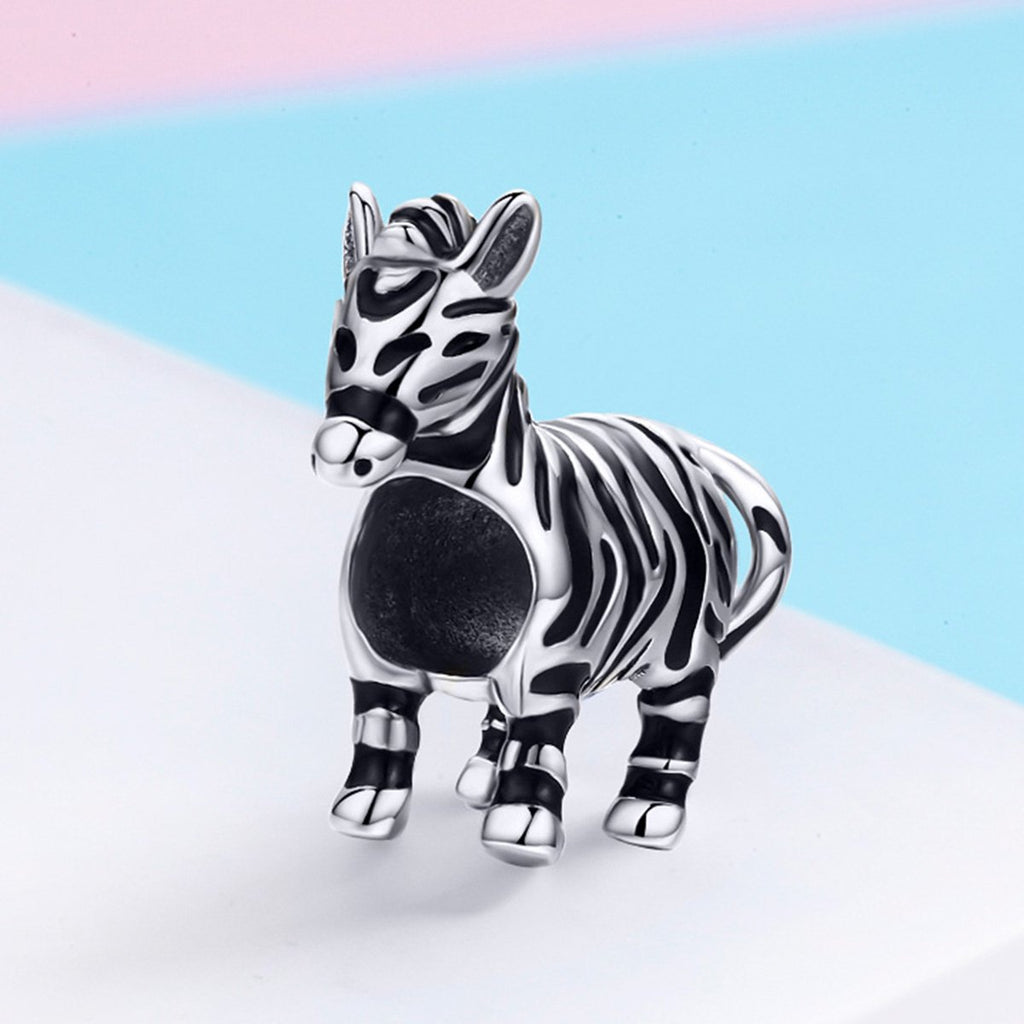 Fashion New 925 Sterling Silver Lovely Zebra Horse Charm Beads fit Original Charm Bracelet & Bangles DIY Jewelry SCC550