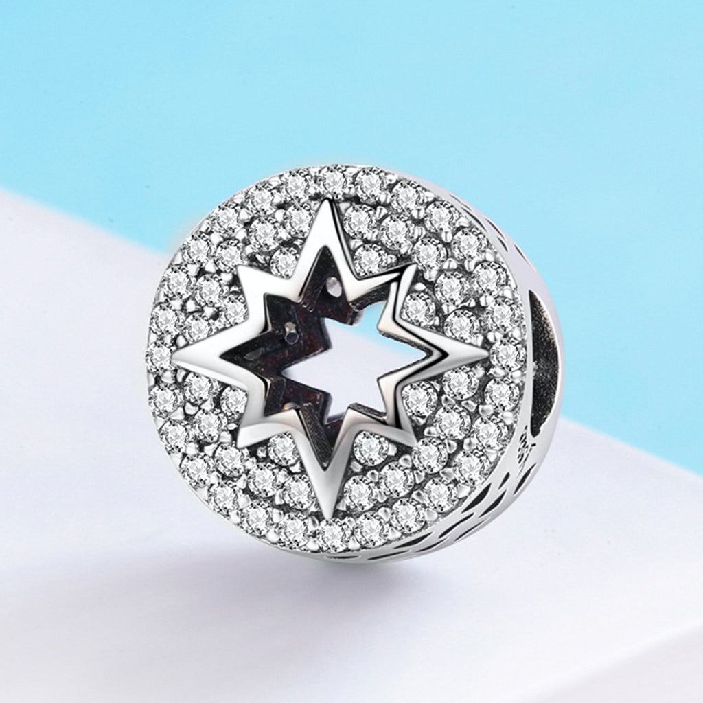 Authentic 925 Sterling Silver Sparkling Clear CZ Firework Charm Beads fit Women Charm Bracelet DIY Jewelry Making SCC563