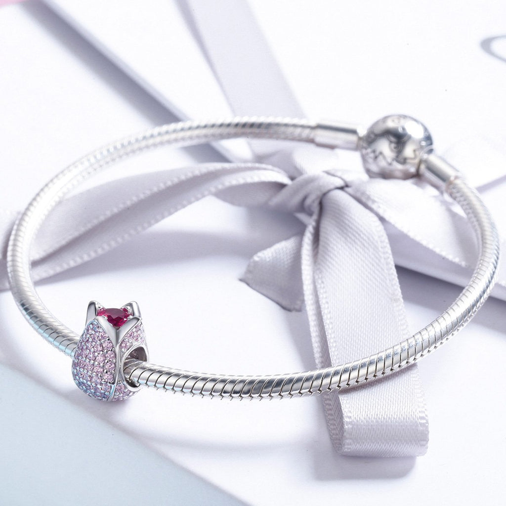 Romantic 925 Sterling Silver Tulip Flower Petals Pink CZ Beads fit Women Bracelet & Necklaces DIY Jewelry Making SCC569
