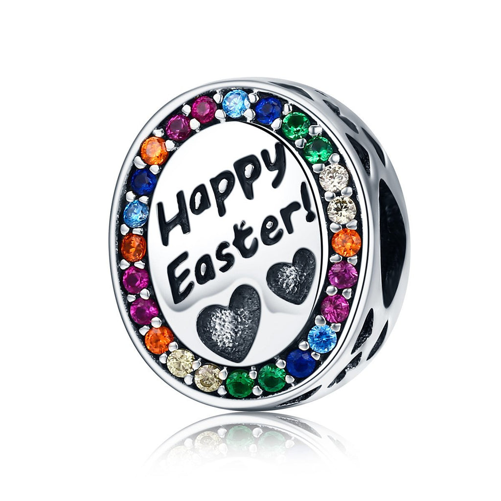 Easter Collection 100% 925 Sterling Silver Happy Easter Day Charm fit Women Charm Bracelet & Necklace Jewelry SCC575