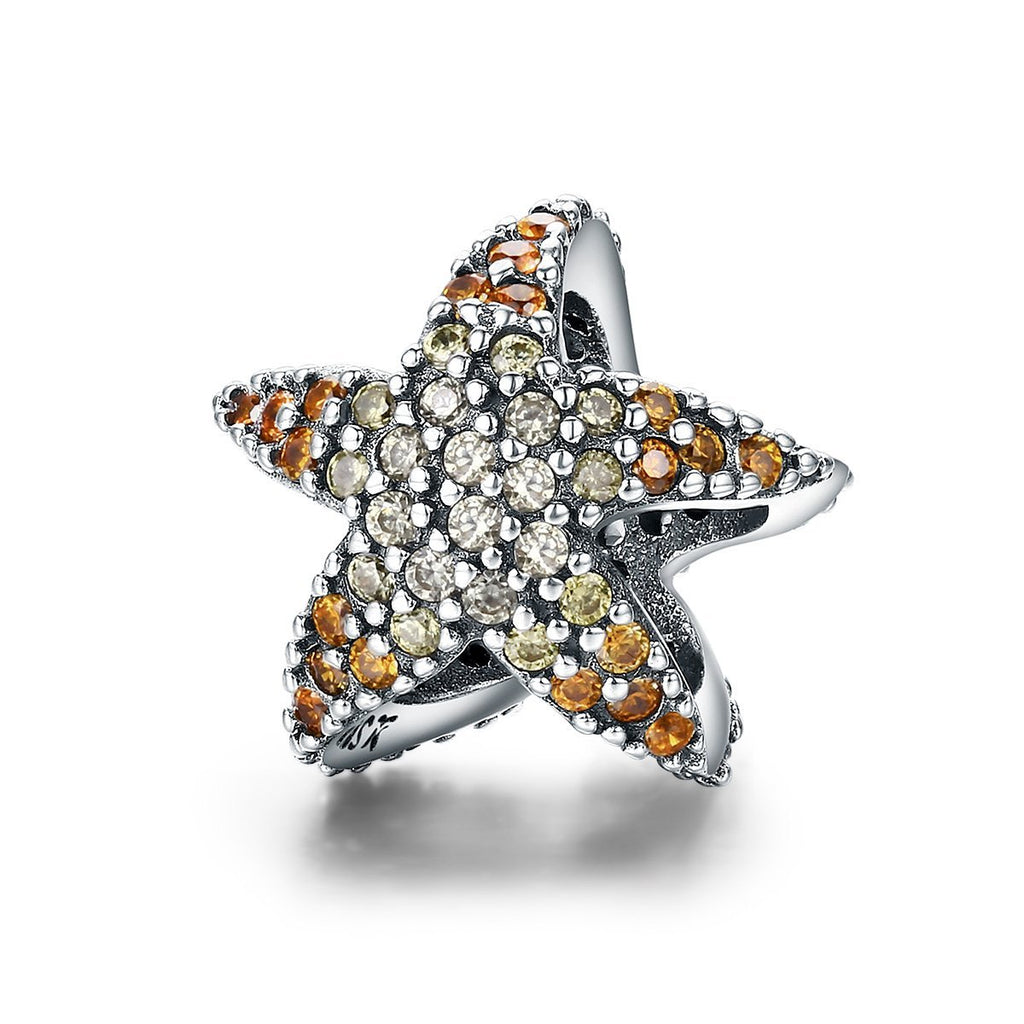 Authentic 925 Sterling Silver Ocean Star Starfish Beads Charm fit Original Charm Bracelet Fine Silver Jewelry SCC586