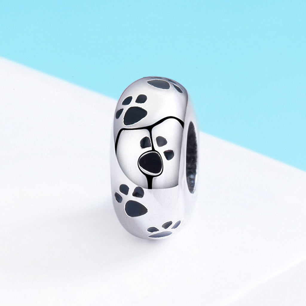 New Arrival 100% 925 Sterling Silver Dog Animal Footprint Spacer Beads fit Charm Bracelet & Necklace DIY Jewelry SCC594