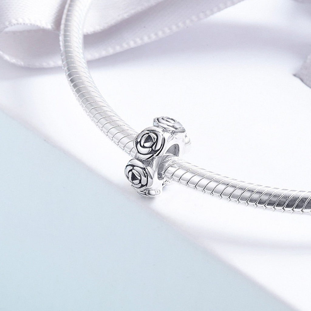 Real 925 Sterling Silver Romantic Stackable Rose Flower Beads fit Women Charm Bracelet Necklace Fine Jewelry S925 SCC596