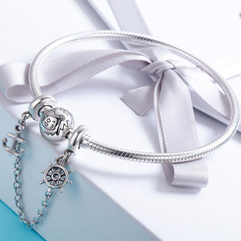 925 Sterling Silver Voyage Anchor & Rudder Safety Chain Stopper Charm fit Bracelet Bangles Jewelry SCC604