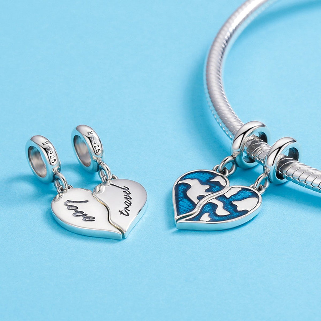 Authentic 925 Sterling Silver Picture of Earth Map Heart Charm Pendant fit Charm Bracelet Necklace Jewelry Gift SCC637