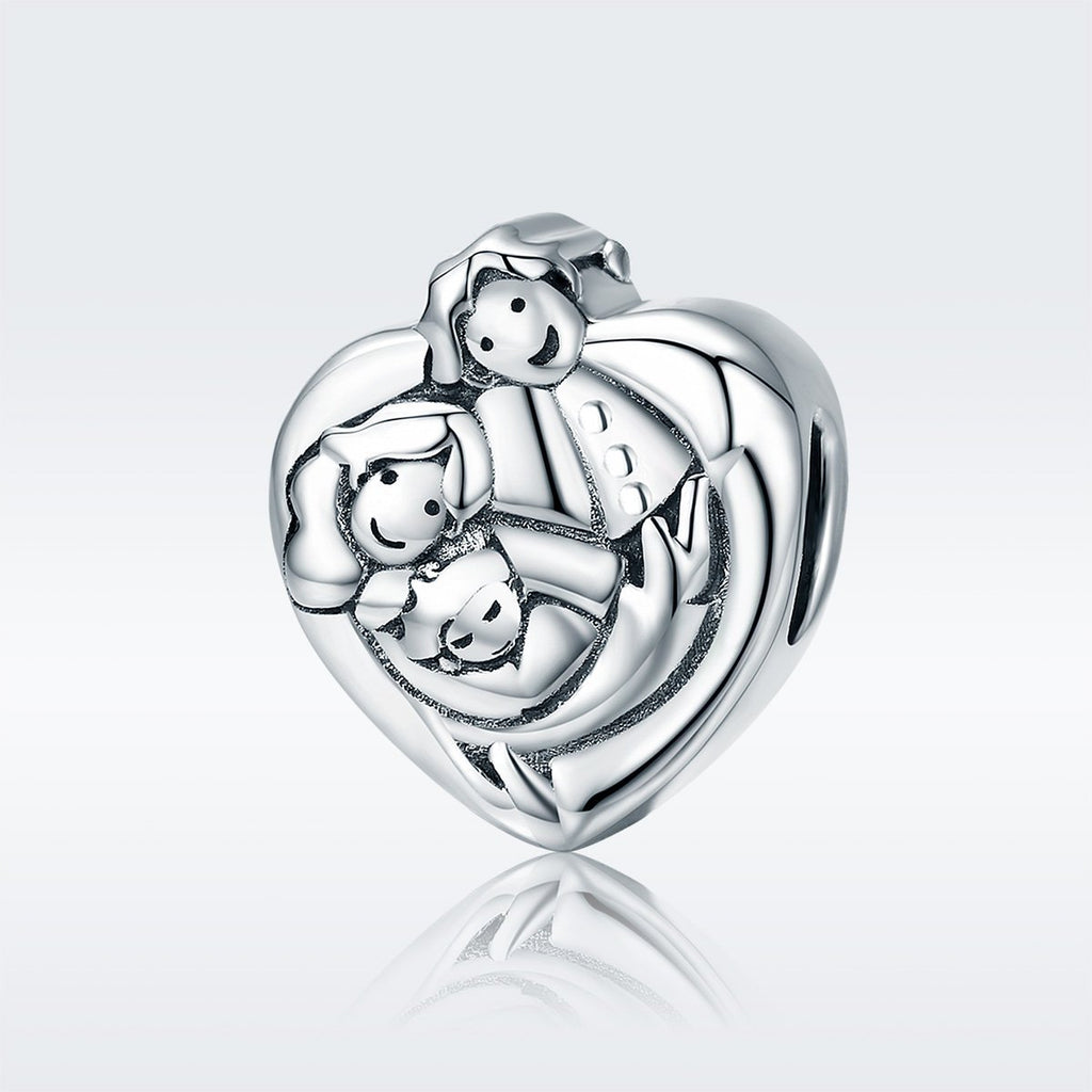 Genuine 925 Sterling Silver Sweet Family Forever Heart Shape Charm Beads fit Women Bracelets Bangles DIY Jewelry SCC688