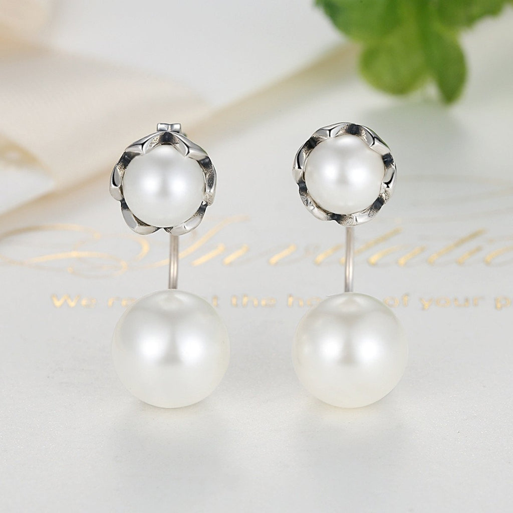 925 Sterling Silver Double Pearl Elegant Earring Stud for Ladies Engagement Birthday Gift SCE002