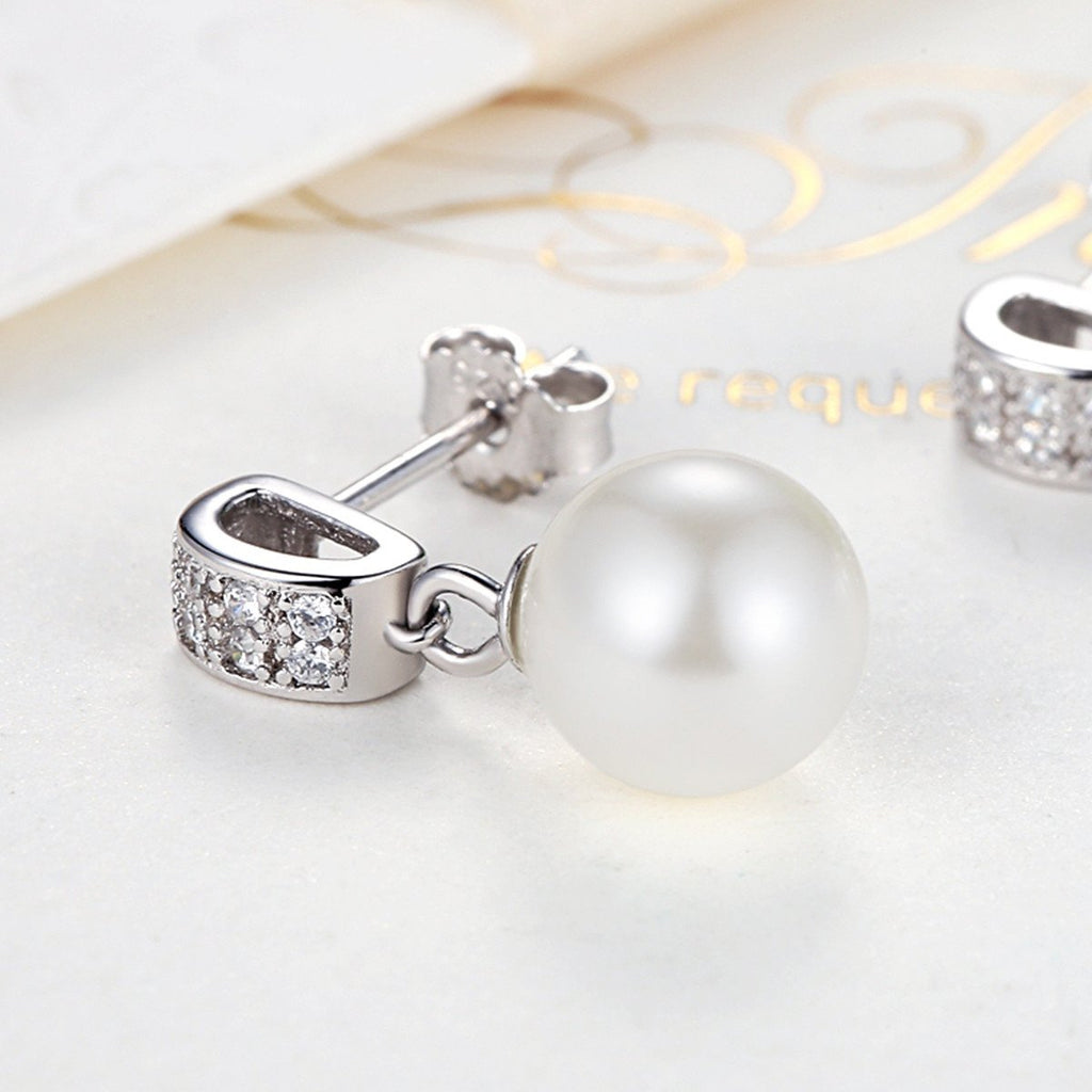 925 Sterling Silver Stud Earrlings with Dangle Shell Pearl CZ Gems for Women SCE006