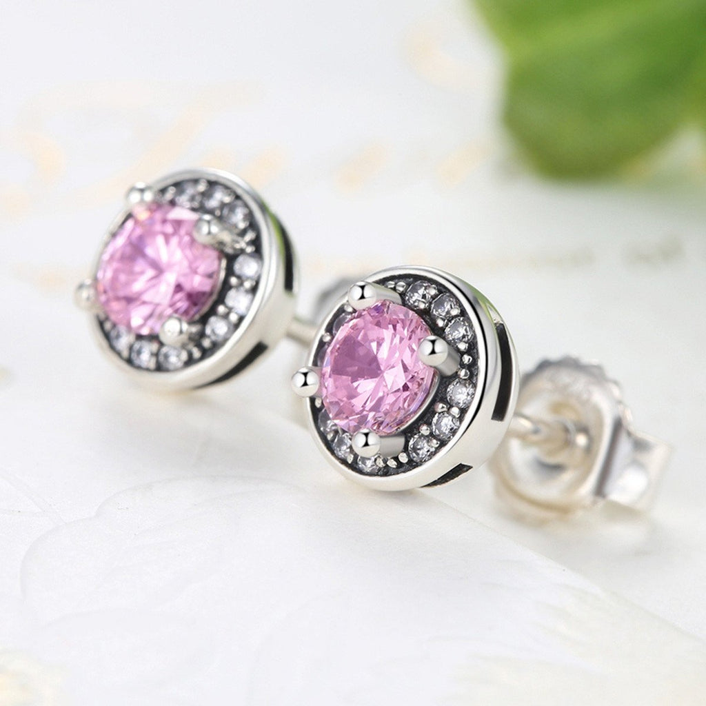 New Arrival 100% 925 Sterling Silver Pink Stone Round Push Back Stud Earrings for Women Fashion Jewelry  SCE023-1L