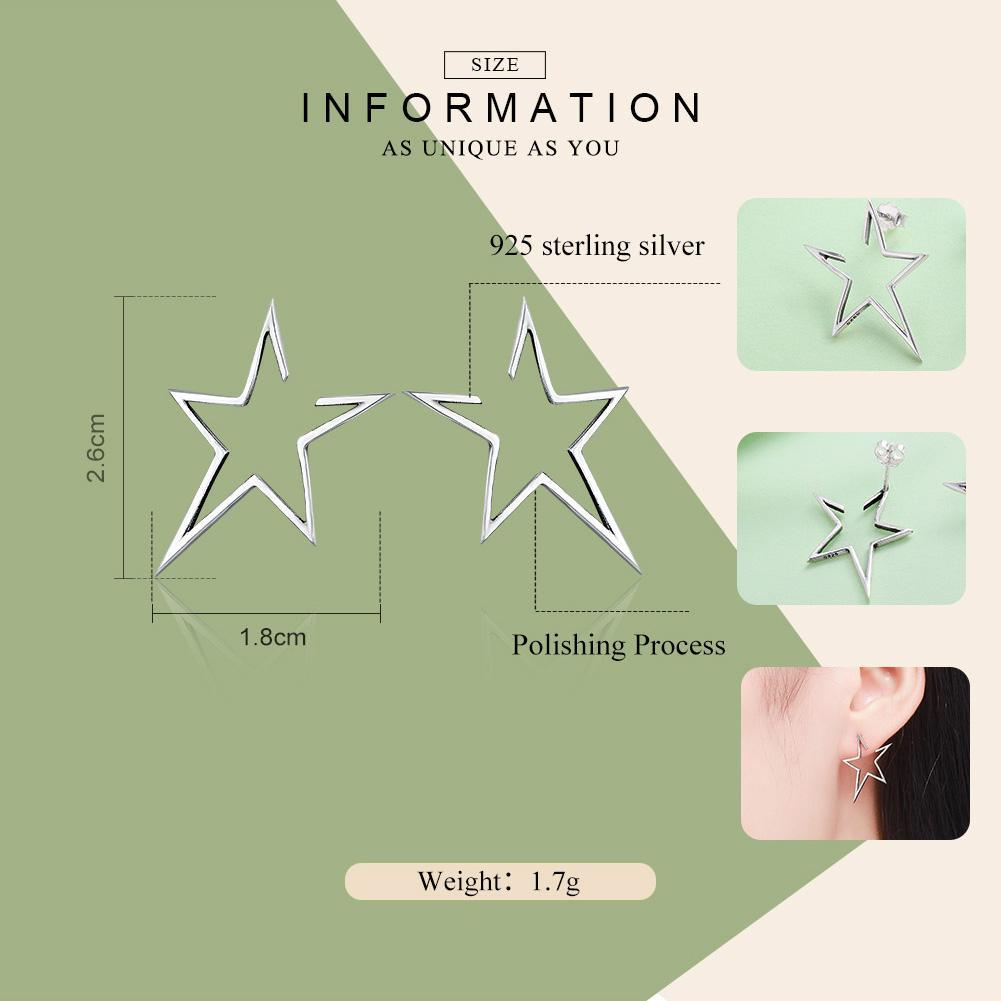 New Arrival Authentic 925 Sterling Silver Exquisite Star Stud Earrings for Women Hyperbole Fine Jewelry SCE107