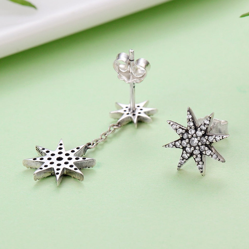 Trendy 100% 925 Sterling Silver Sparkling Star & Snowflake Drop Earrings for Women Authentic Silver Jewelry SCE108