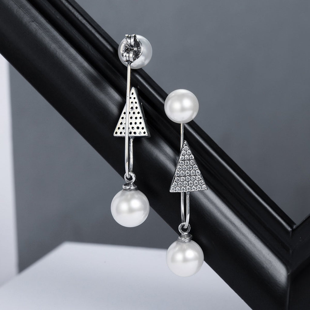 925 Sterling Silver Sparking CZ Triangle Simulated Pearl Drop Earrings Women Sterling Silver Jewelry SCE136