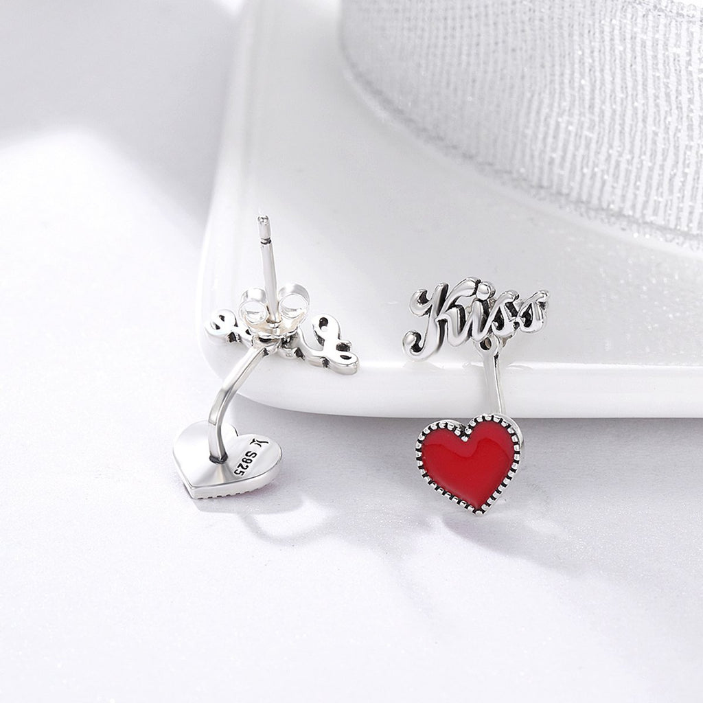 925 Sterling Silver Exquisite Red Heart Love & Kiss Letter Stud Earrings Women Fine Jewelry SCE157