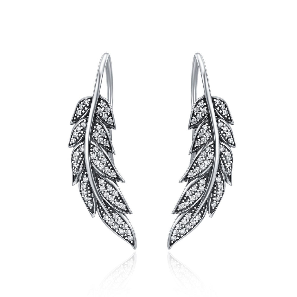 Authentic 925 Sterling Silver Vintage Feather Wings Long Drop Earrings for Women Sterling Silver Jewelry Brincos SCE215