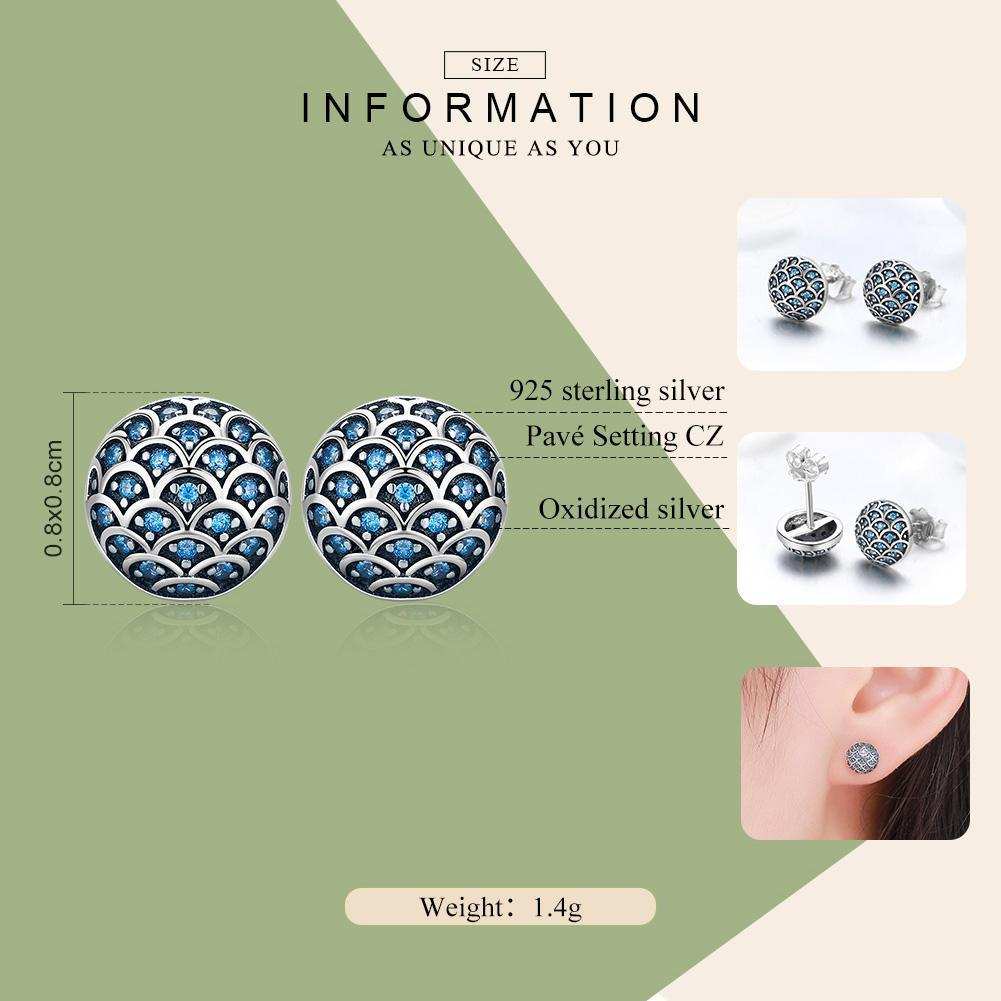 Genuine 100% 925 Sterling Silver Legend Of The Sea Clear CZ Small Stud Earrings for Women Sterling Silver Jewelry SCE239