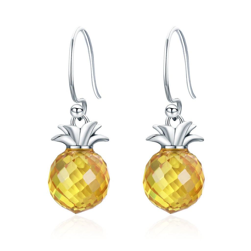 100% 925 Sterling Silver Hanging Pineapple Crystal Hanging Drop Earrings for Women Sterling Silver Jewelry Gift SCE265