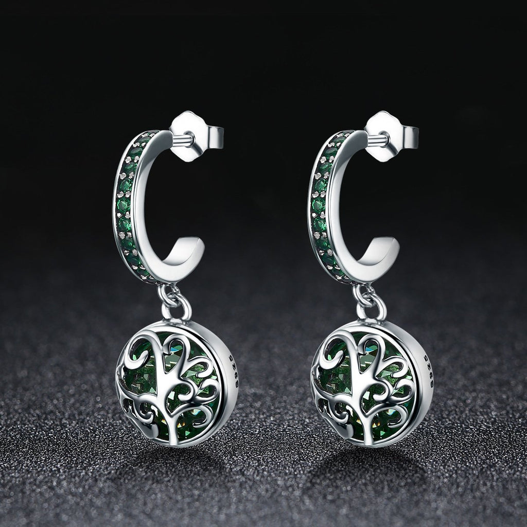 100% 925 Sterling Silver Green Crystal Tree of Life Tree Leaves Drop Earrings for Women Fashion Jewelry SCE280