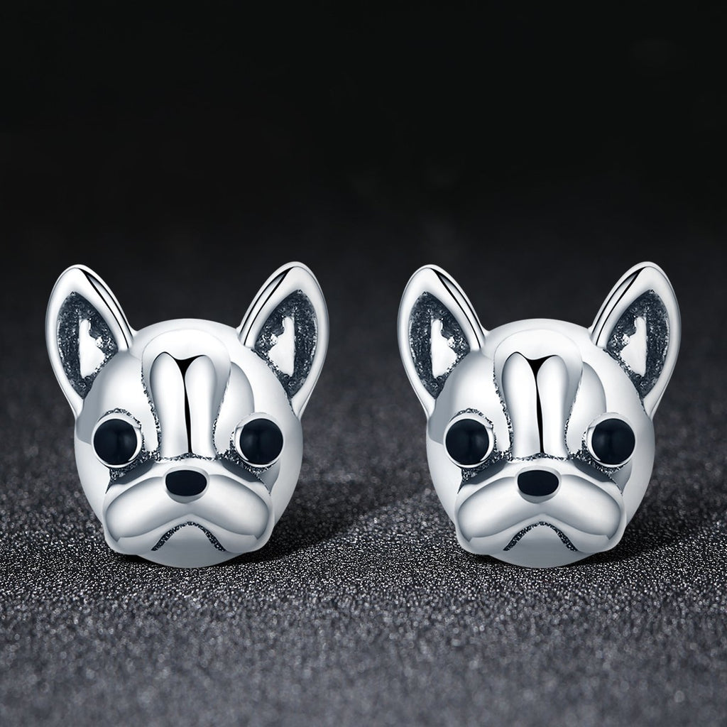 100% 925 Sterling Silver Loyal Partners French Bulldog Dog Animal Small Stud Earrings for Women Oorbellen Jewelry SCE283